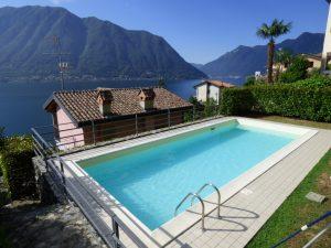 Immobilien Comer See House mit Schwimmbad und Garten - Seeblick